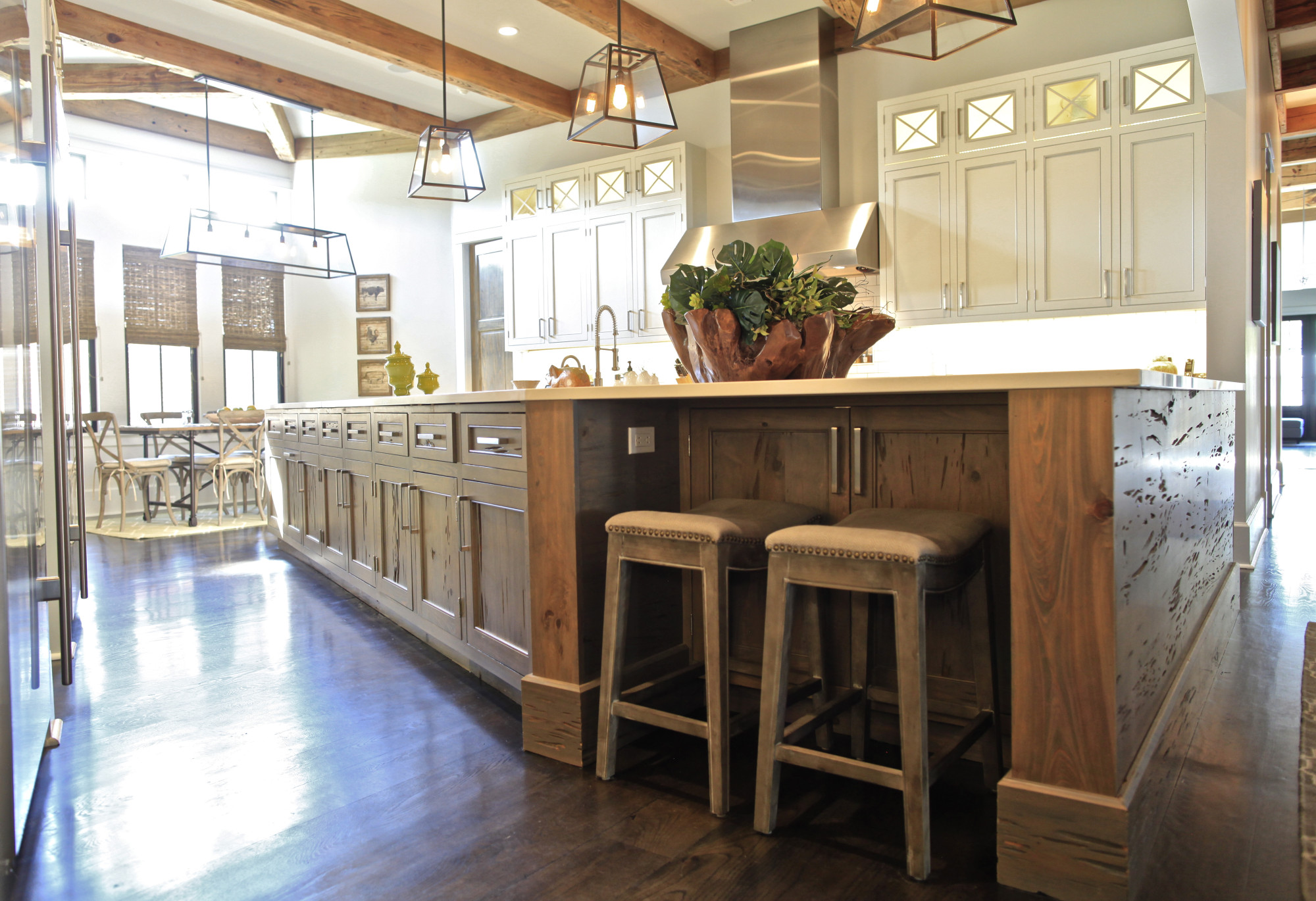 Custom pecky cypress kitchen island