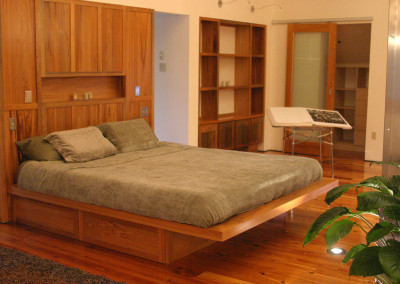 "Cypress bedroom.<br/> <span class=""gallery-courtesy"">Courtesy Acadian Cypress and Hardwoods</span>"