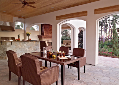 Outdoor cypress ceiling, trim, and fireplace mantle. Courtesy James Wilson